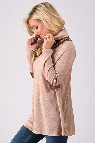 Sequined Cowl Neck Top - Taupe