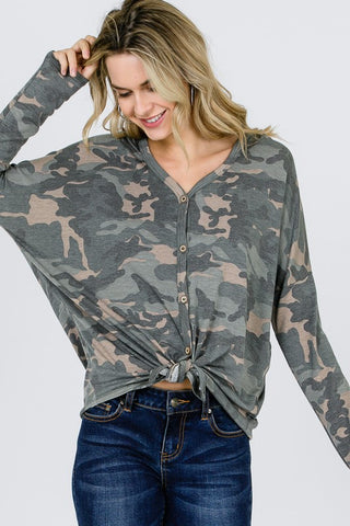 Button Up Hooded Camo Top