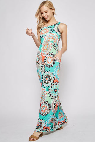 Garden Party Maxi Dress - Patio Print Mint