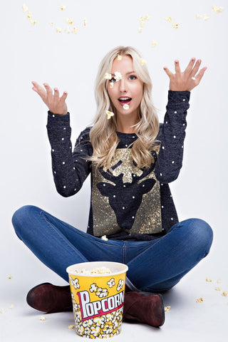 Sequined Reindeer Polka Dot Top - Charcoal