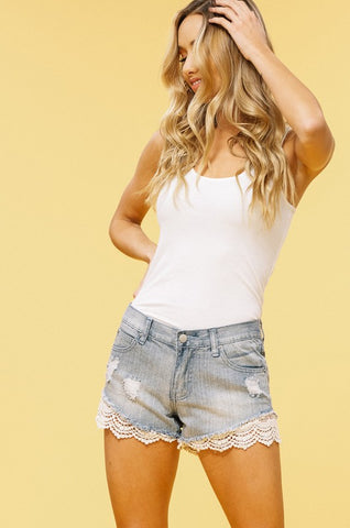 Denim and Lace Shorts - Light Wash