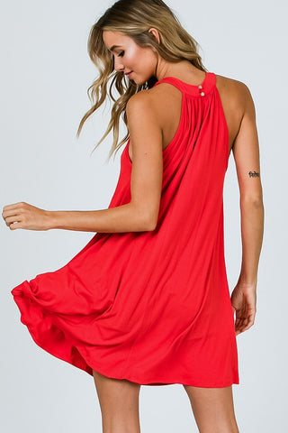 Simple Knit Halter Dress - Tomato