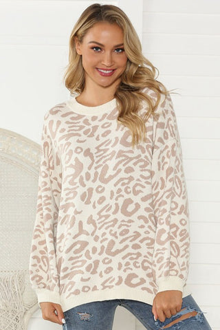Leopard Print Sweater - Taupe