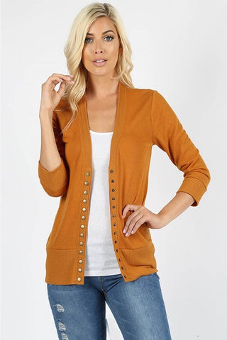 Snap Up 3/4 Sleeve Cardigan - Desert Mustard