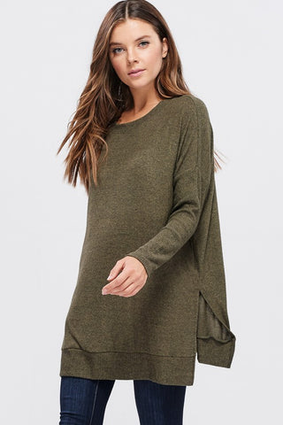 Flowy Sweater Tunic - Olive