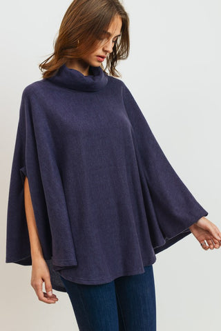 Cowl Neck Poncho Top - Charcoal