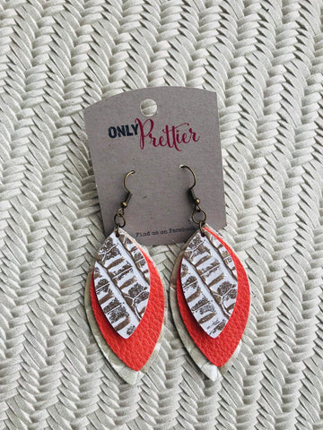 Layered Leather Leaf Shaped Earrings - Coral and Gold