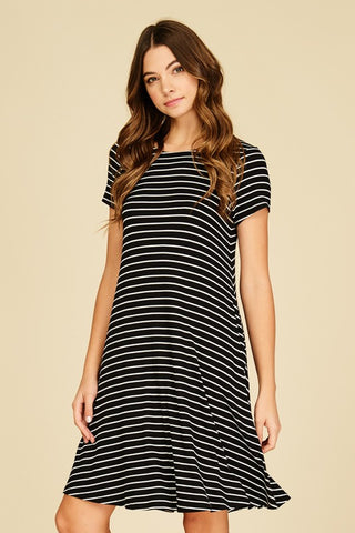 Striped Casual Dress with Pockets - Black