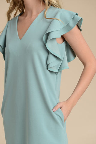 Ruffle Sleeve Shift Dress - Sage