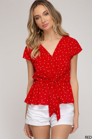 Sleeveless Tie Red Dot Top