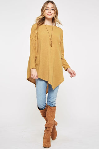 Asymmetrical Sweater Tunic Top - Mustard
