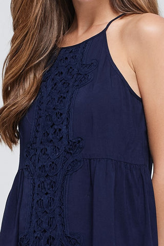 Lace Halter Top - Navy