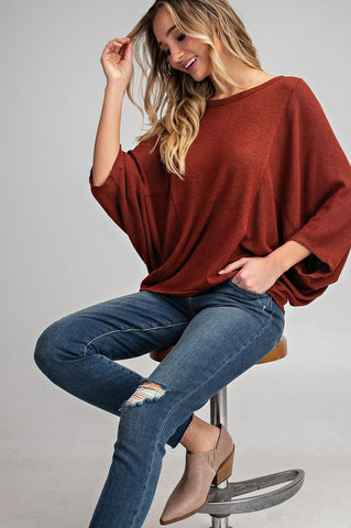 Dolman Sleeve Flowy Top - Brick