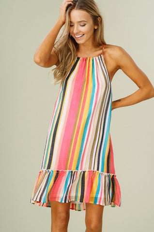 Tropical Striped Halter Dress