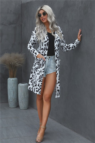Leopard  Print Long Length  Cardigan - White
