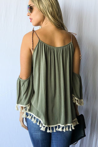 Fringed Tie Shoulder Top - Olive