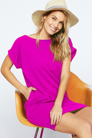 Rolled Sleeve Shift Dress - Fuchsia