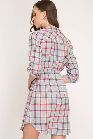 3/4 Sleeve Flannel Dress with Collar - Gray