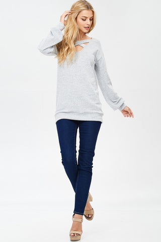 Criss Cross Sweater - Heather Gray