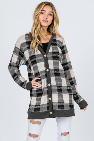 Plaid Cardigan - Charcoal