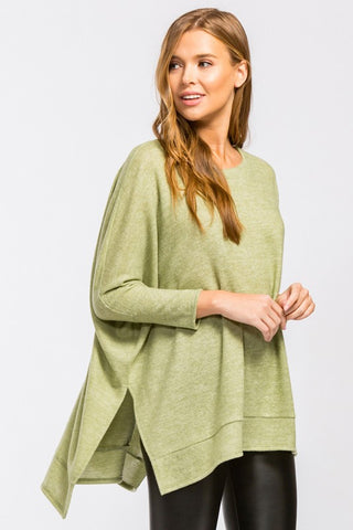 Waning Winter High Low Tunic Top - Sage