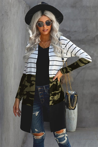 Long Striped Color Block Cardigan - Camo