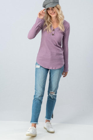 Ribbed Top with Button Detail - Lavender