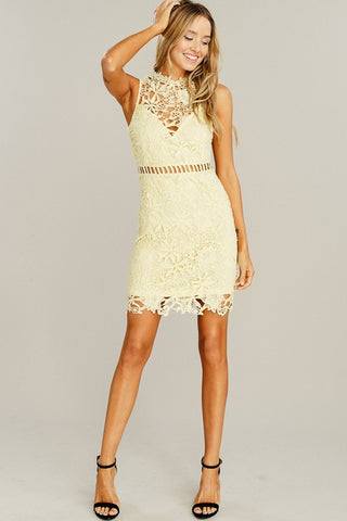 Crochet Lace Dress - Yellow