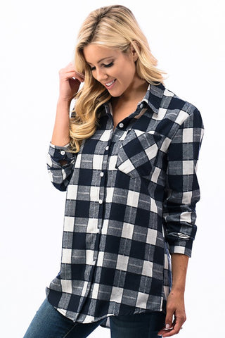 Checkered Plaid Top - Navy