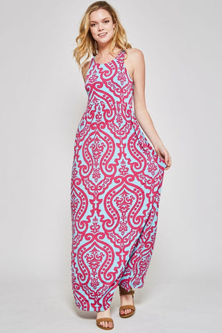 Garden Party Maxi Dress - Fuchsia and Aqua Damask