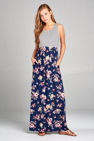 Warmth of Spring Striped and Floral Racerback Maxi Dress - Navy