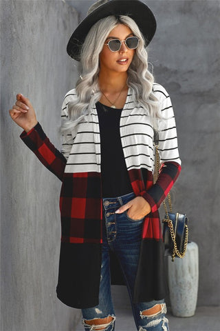 Long Striped Color Block Cardigan - Buffalo Plaid
