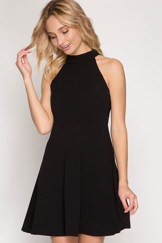 Halter Flare Dress - Black