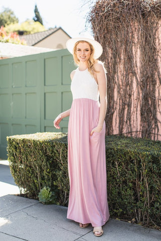 Lace Racerback Maxi Dress - Pink