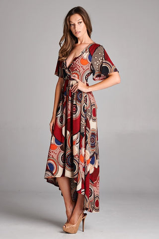 Abstract Circles Maxi Dress - Burgundy