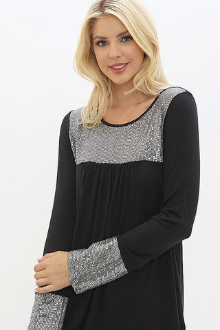 Sequined Flowy Top - Black