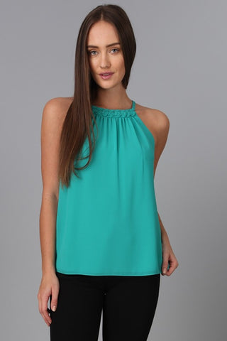 Braided Neckline Halter Top - Sea Green