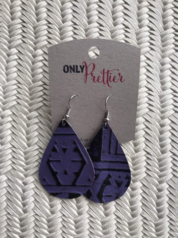 Leather Teardrop Earrings - Purple