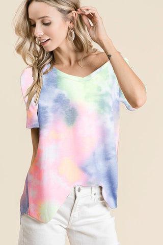 Pink V-Neck Tie Dye Top