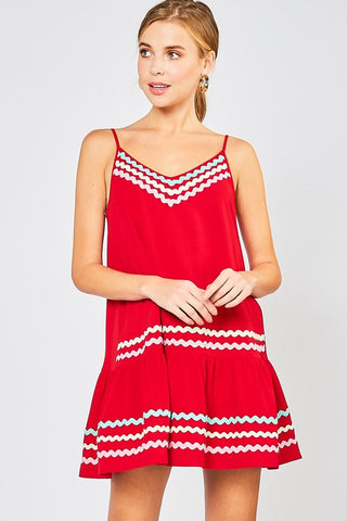 Spaghetti Strap Ribbon Detail Dress - Red