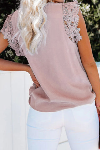 Lace Sleeve V-Neck Top - Pink