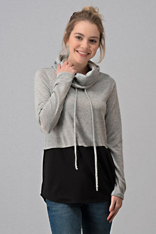 French Terry Color Block Cowl Neck Top - Black