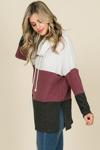Cozy Cowl Neck Color Block Top - Plum and Charcoal