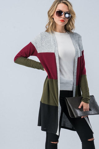 Casual Color Block Cardigan - Olive