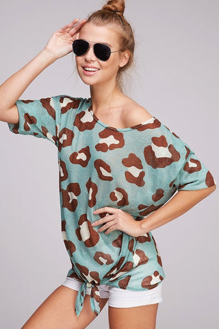 Off Shoulder Leopard Tie Top - Oatmeal