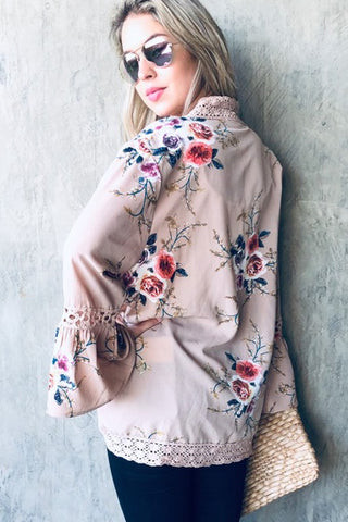 Summer Floral Kimono - Taupe