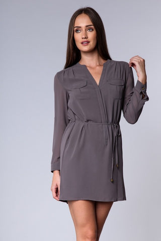 Drawstring Long Sleeve Dress - Charcoal