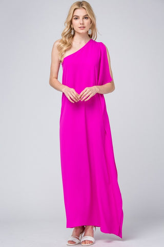 One Shoulder Maxi Dress - Fuchsia