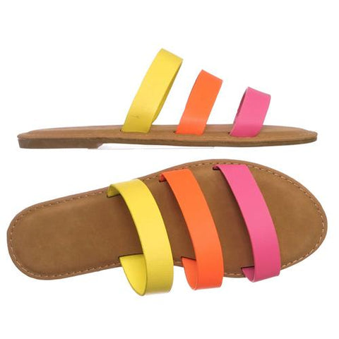 Triple Strap Colorful Summer Sandals - Neon