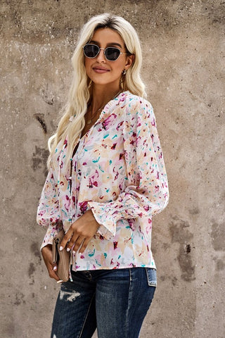 Floral Blouse - Pink and White